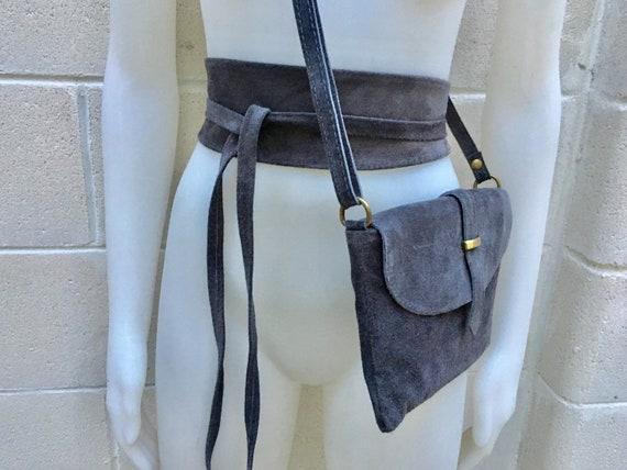 Suede leather bag in  DARK GRAY. Crossbody bag in GENUINE  leather.Gray small leather bag with obi suede belt Bag and belt set
