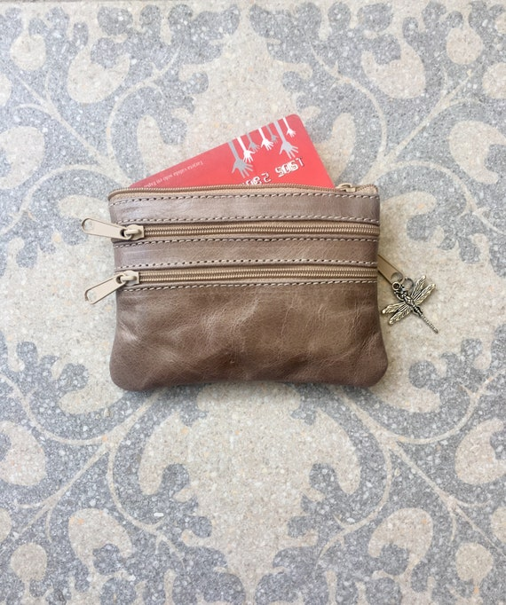 Small purse in TAUPE BEIGE.  Genuine leather, 4 zippers. Fits credit cards, coins, bills. light brown leather wallet.