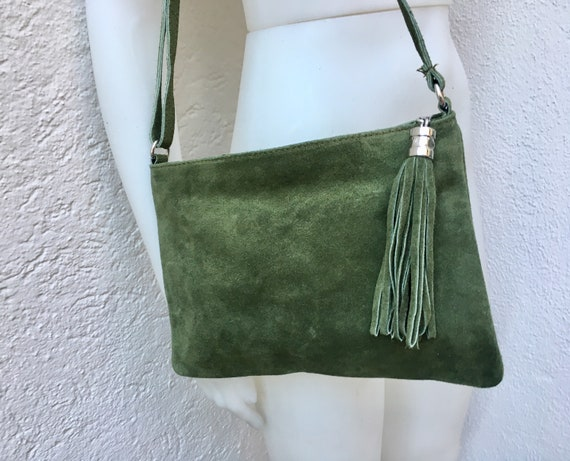 Suede leather bag in GREEN. Cross body bag, shoulder bag in GENUINE  leather. Small leather bag with adjustable strap and zipper.