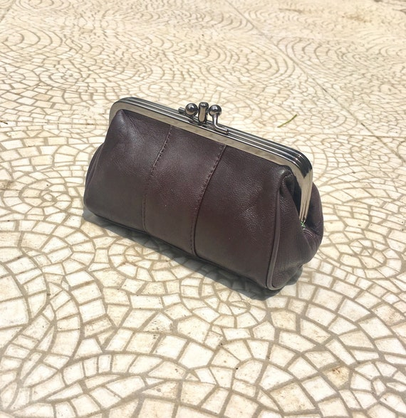 Kiss lock  purse in dark BROWN leather. Evening clutch in CHOCOLATE brown. Cosmetics bag, ,clip purse, small bag in BROWN. Genuine leather