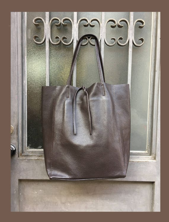 Tote leather bag in CHOCOLATE BROWN. Soft natural GENUINE  leather bag. Large beige leather bag. Laptop bag, office bag, school leather bag