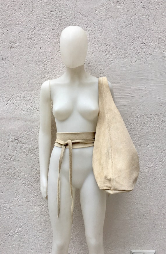 Large  SLOUCH leather bag in light BEIGE with matching OBI  belt . Soft natural suede leather bag. Bohemian bag. Yellow tote suede bag.