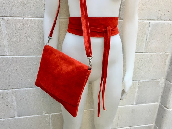 BOHO  suede leather cross over bag in RED  with matching belt. Soft natural leather bag and belt. Messenger bag in genuine suede leather