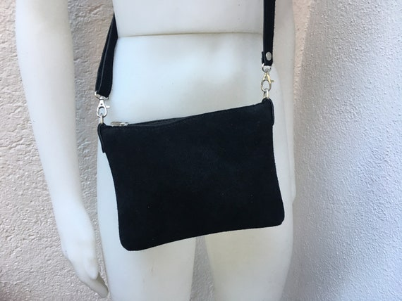 Suede leather bag in BLACK. Cross body bag, shoulder bag in GENUINE  leather. Small leather bag with adjustable strap and zipper.