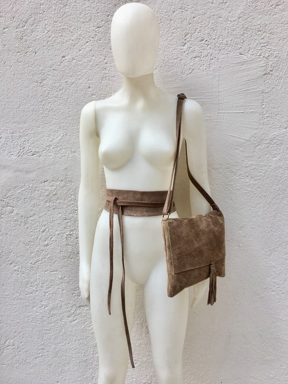 BOHO suede leather bag and obi belt in TAUPE brown -beige. Soft natural leather bag. Genuine suede set of bag and belt.