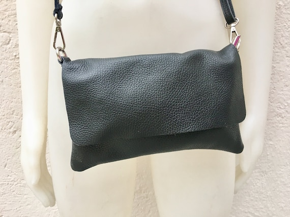 Small leather bag in BLACK. Cross body bag, shoulder bag in GENUINE  leather. BLACK  bag with adjustable strap,  zipper and flap.