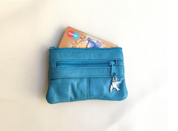 Blue leather coin purse. Genuine leather, small coin and card purse with zipers. TURQUOISE blue bag , bright color genuine leather purse.