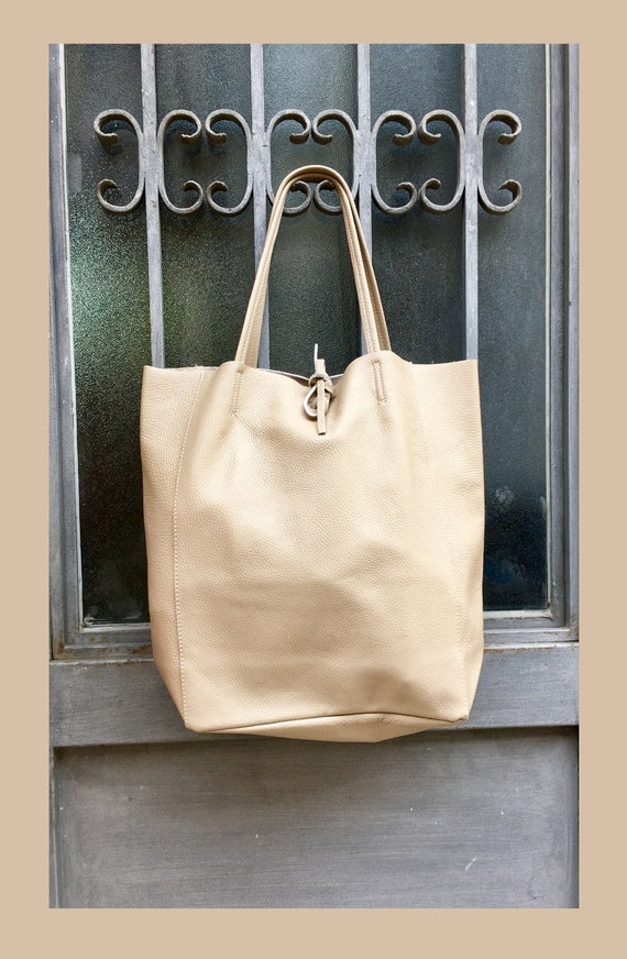 TOTE leather bag in LIGHT beige. Soft natural GENUINE  leather bag. Large beige leather bag. Laptop, tablet bag, leather bag for books.