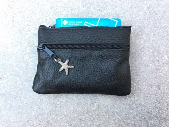 Small purse with zippers in BLACK. Genuine leather. Small wallet for credit cards, coins and notes. Soft black  leather.