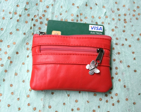 small purse in genuine leather. CORAL RED purse for cards, coins and bills, 3 zippers and a metallic butterfly charm. Soft red leather