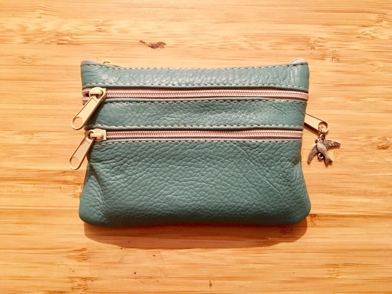 Small purse in TEAL BLUE, genuine leather, 4 zippers. Fits credit cards, coins, bills. BLUE leather wallet.