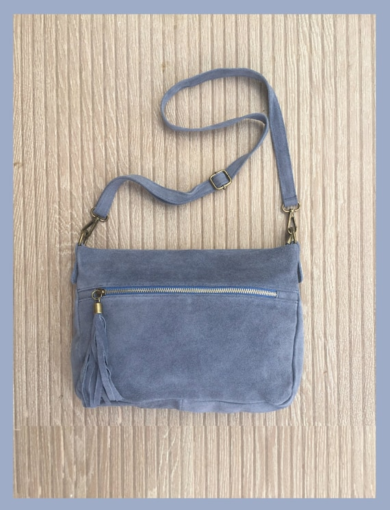 BOHO  suede cross over genuine suede leather bag in medium GREY. Soft natural suede leather bag with tassels. Grey messenger bag. Boho
