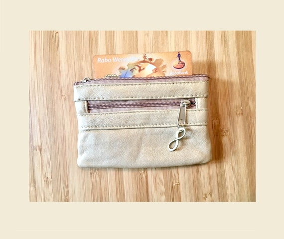 Genuine leathe small coin and card wallet with zipers in Golden Beige. Metallic color bag, soft color genuine leather purse.