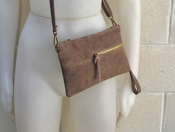 Suede leather bag in DARK BEIGE .Cross body bag, shoulder bag in GENUINE  leather. Small leather bag with adjustable strap and zipper.