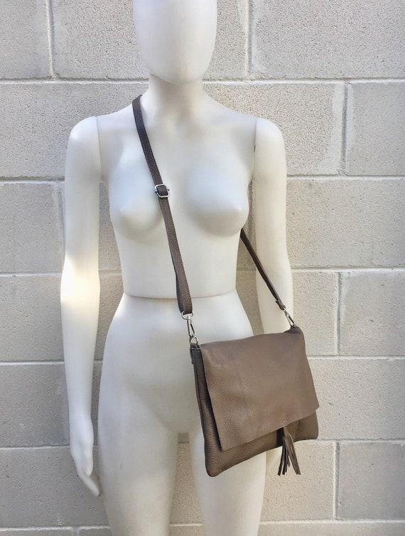 Cross body bag. BOHO grain leather bag in DARK BEIGE. Soft genuine grain leather. Crossover, messenger bag in grain. Festival,  small bags