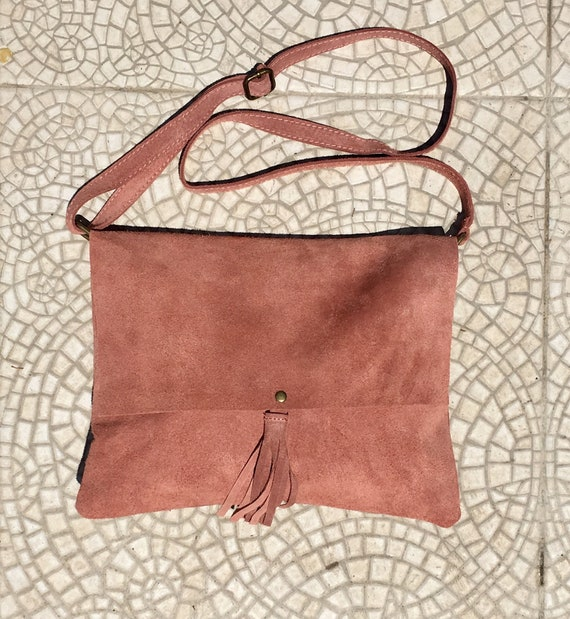 Cross body bag. BOHO suede bag in PINK . Soft  genuine suede leather. Crossover, messenger bag in suede.Soft.