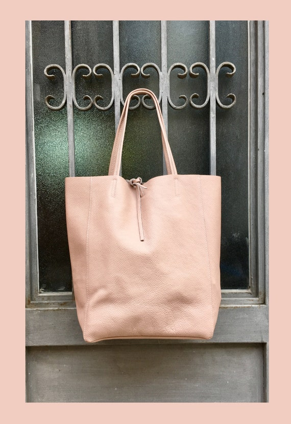 Pink leather bag. TOTE leather bag in POWDER PINK. Genuine leather. Soft natural  leather large bag for laptop, ipad, tablet or books.
