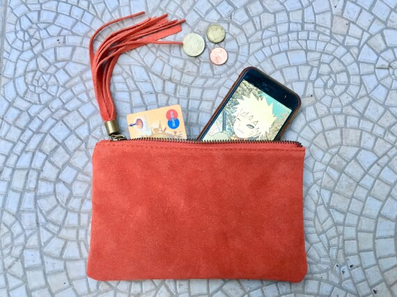 Small genuine suede leather BAG in burnt ORANGE. iPhone case, Cosmetic bag, Make up bag,Purse in orange, soft leather.
