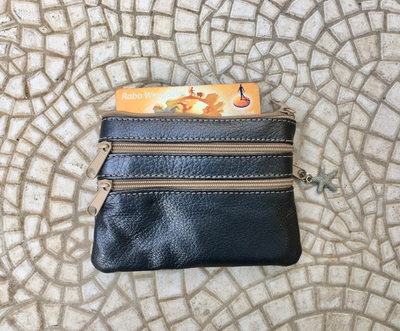 Coin purse with zippers in metallic BLUE. Genuine leather. Small wallet for credit cards, coins and notes. Soft BLUE leather.