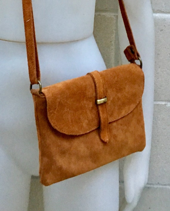 Suede leather bag in  CAMEL BROWN. Tobacco color crossbody bag in GENUINE  leather. Small leather bag with adjustable strap and zipper.