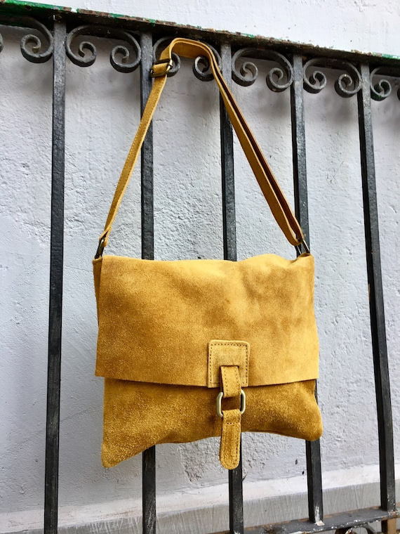 Crossbody suede leather bag in MUSTARD YELLOW. Soft genuine suede leather bag. Crossover, messenger bag in suede. Boho bag for tablet.