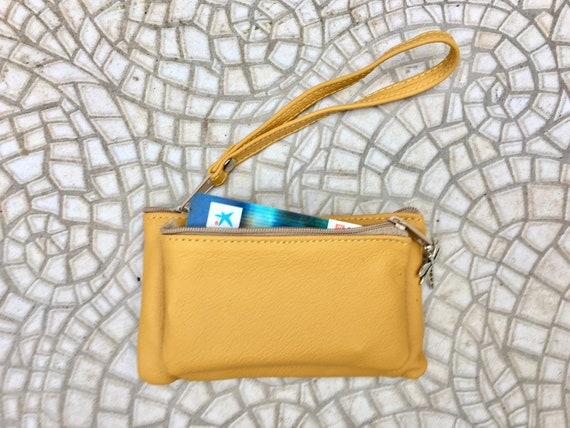 Small purse in MUSTARD yellow, genuine leather, 4 zippers. Fits credit cards, coins, bills. YELLOW leather wallet with DRAGONFLY charm