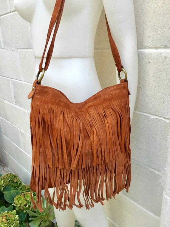 Cross body bag. BOHO suede leather bag in CAMEL brown with FRINGES. Larger model.  Messenger bag in genuine suede. Crossbody hippy bag