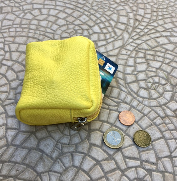 Zipper coin purse in BRIGHT YELLOW. Genuine leather. Small wallet for cards, coins and notes. Yellow small zipper purse.