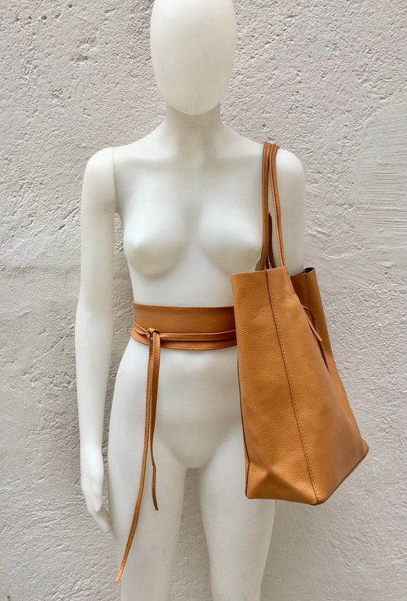 Tote bag in camel BROWN with belt.Soft natural GENUINE leather bag + belt set. Large yellow leather bag. Computer, tablet or Laptop bag.