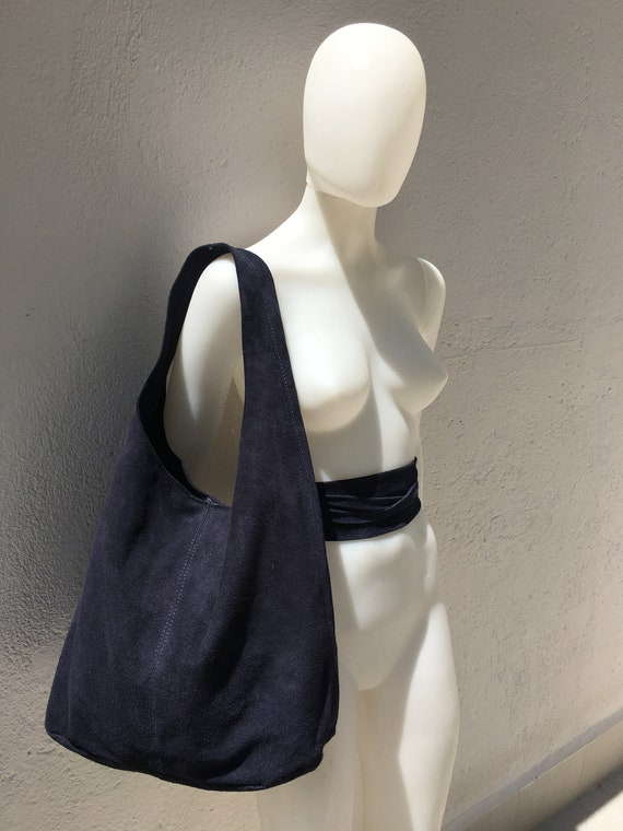 Large  SLOUCH leather bag in dark BLUE with matching OBI  belt . Soft natural suede leather bag. Bohemian bag. blue tote suede bag.