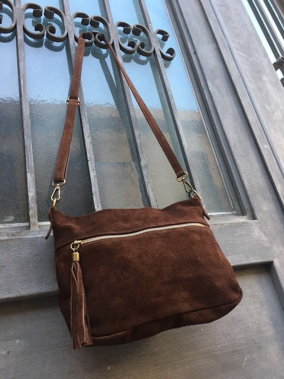 BOHO  suede leather bag in MEDIUM brown. Cross over bag, leather bag, boho bag, messenger suede bag. Soft natural leather bag with tassels