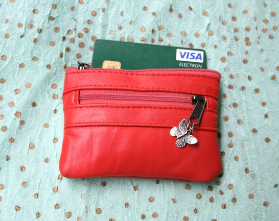 RED leather coin purse. Genuine leather, small coin and card purse with zipers. RED  bag , bright color genuine leather purse.