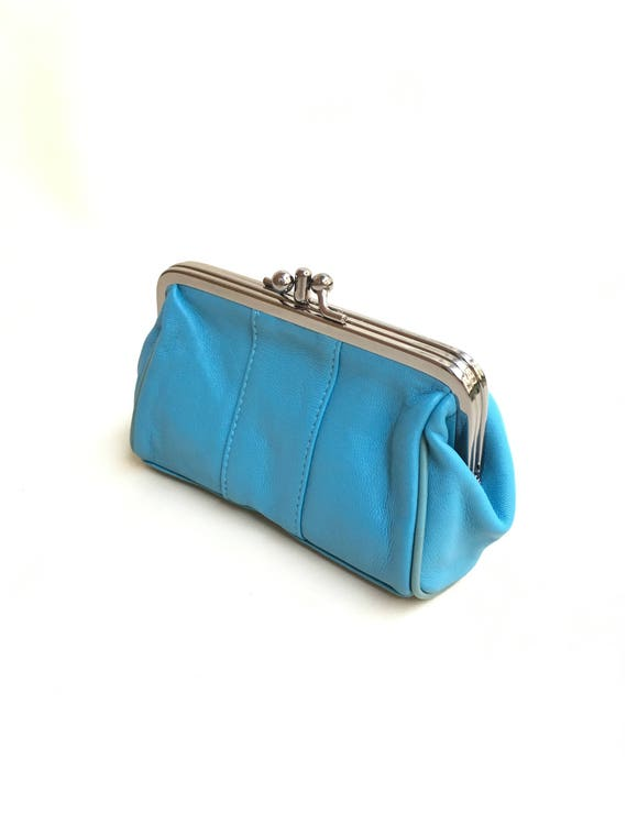 Clasp purse  in BLUE. Vintage style leather wallet, cosmetics bag  or clutch. Turquoise blue make up bag, romantic leather purse.