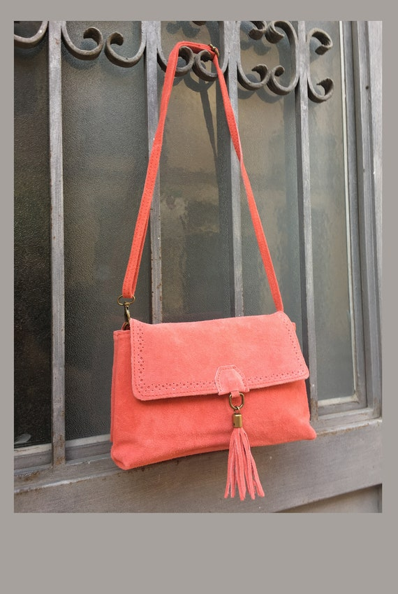 BOHO  suede leather cross over bag in CORAL RED . Natural genuine leather bag. Red messenger bag in genuine suede leather, boho festival bag