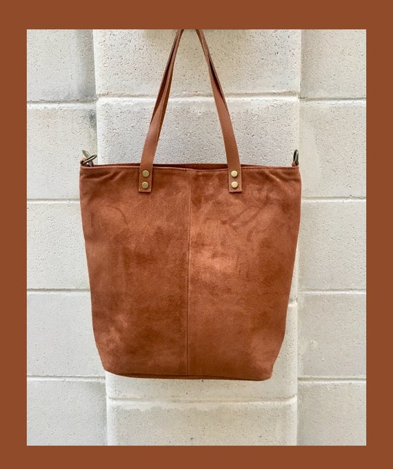 Large TOTE leather bag in saddle brown. Soft natural suede genuine leather bag in camel BROWN. Laptop  bag in suede. Large crossbody bag.