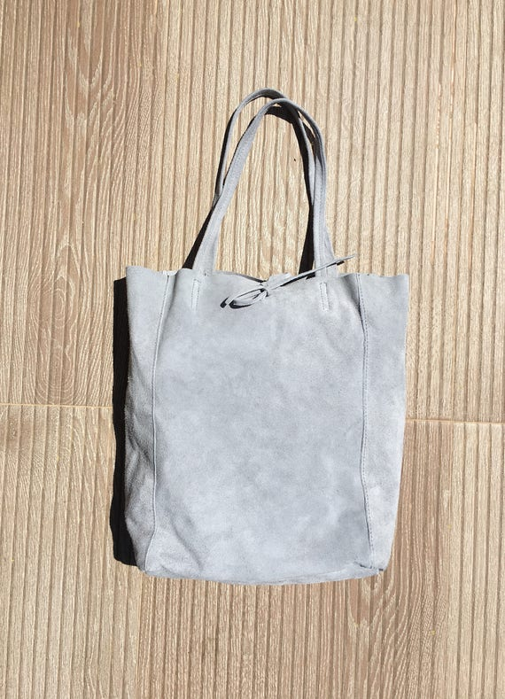 Genuine suede  leather bag in GRAY, large  tote bag. Soft natural suede leather bag