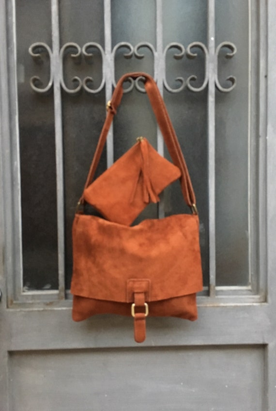 Suede leather bag in CAMEL BROWN with matching leather pouch. Soft genuine suede leather bag and purse.  Crossover, messenger bag in suede