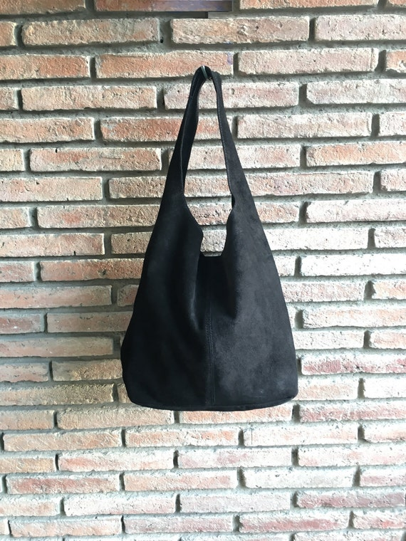 Slouch bag.Large TOTE leather bag in BLACK. Soft natural suede genuine leather bag. Bohemian bag. BLACK suede bag.