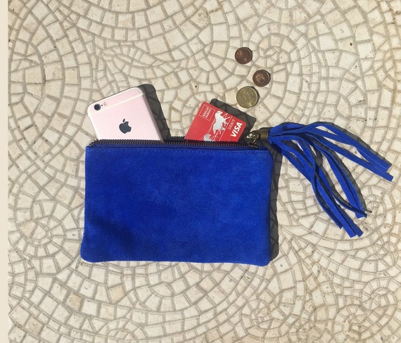 Small genuine suede leather BAG inCOBALT blue, iPhone case, Cosmetic bag, Make up bag,Purse in BLUE, soft leather.