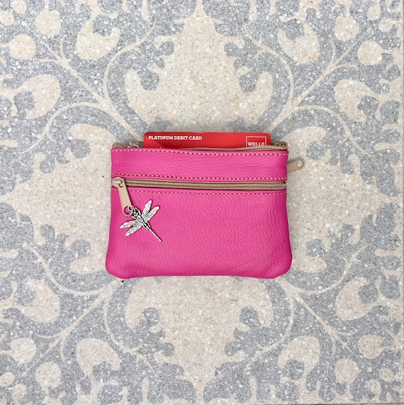 Small purse in SHOCKING PINK, genuine leather, 4 zippers. Fits credit cards, coins, bills. Magenta leather wallet with DRAGONFLY charm