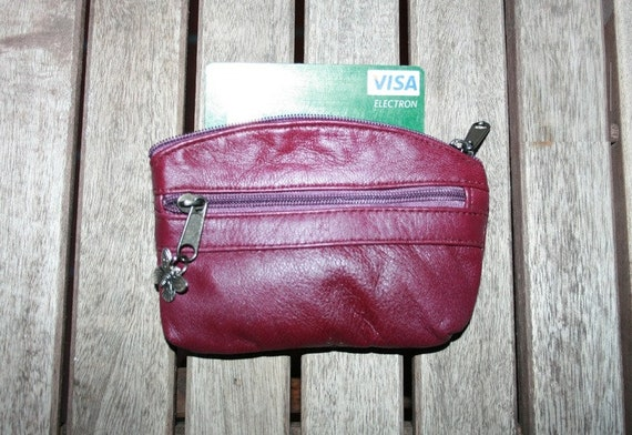 Small purse in BURGUNDY- WINE RED , genuine leather,  3 zippers. Fits credit cards, coins, bills.Leather wallet