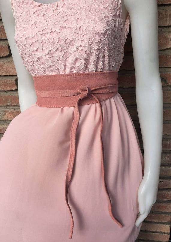 Pink suede OBI belt, SASH in genuine soft  suede,waist belt,soft leather belt, beige sash, obi, boho belt, bohemian sash, boho beige belt