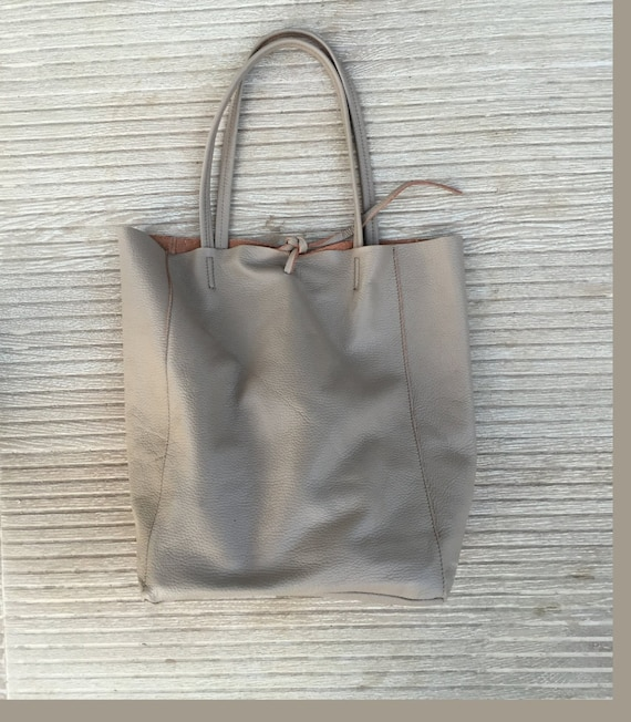 TOTE leather bag in BEIGE. Soft natural GENUINE  leather bag. Large beige leather bag.