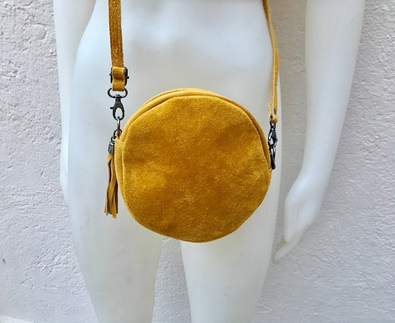 Round cross body bag, small suede bag in MUSTARD  YELLOW  Adjustable strap + zipper. Small shoulder or cross over bag. Boho, festival bag.