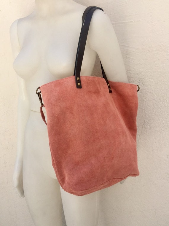 Large TOTE leather bag in CORAL pink .Soft natural suede genuine leather bag in PINK suede  Laptop  bag in suede. Large crossbody bag.