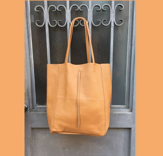 Tote leather bag in CAMEL brown. Soft natural GENUINE  leather bag. Large CAMEL brown  bag. Laptop bag, office bag, school leather bag