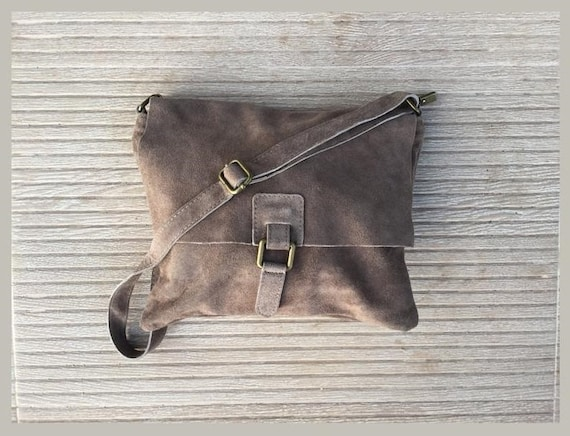 Cross body suede bag. GENUINE  leather bag in TAUPE beige-brown. BOHO natural leather bag. Messenger bag in suede  for books, tablets...