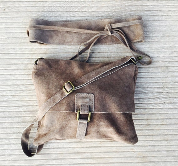 BOHO suede messenger leather bag in TAUPE beige with matching BELT. Messenger bag in brown suede. Soft genuine leather cross body bag