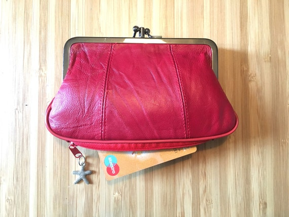 Genuine leather kiss lock  purse in RED, clip purse in SOFT leather, metallic frame granma style wallet.  With zipper at the base for cards.