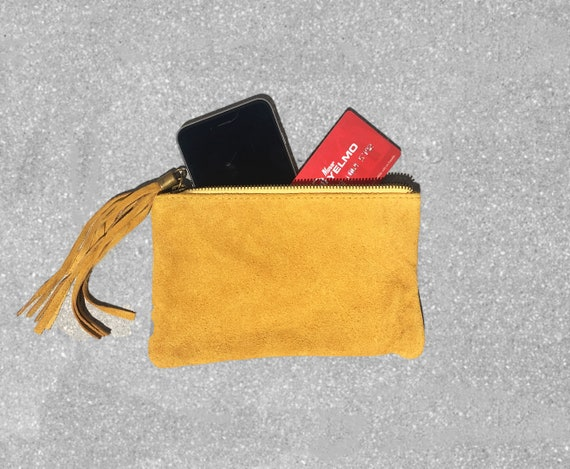 Small genuine suede leather BAG in mustard YELLOW, iPhone case, Cosmetic bag, Make up bag,Purse in YELLOW, soft leather.